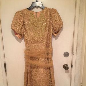 Gold Brocade 80s JESSICA MCCLINTOCK Dress 14